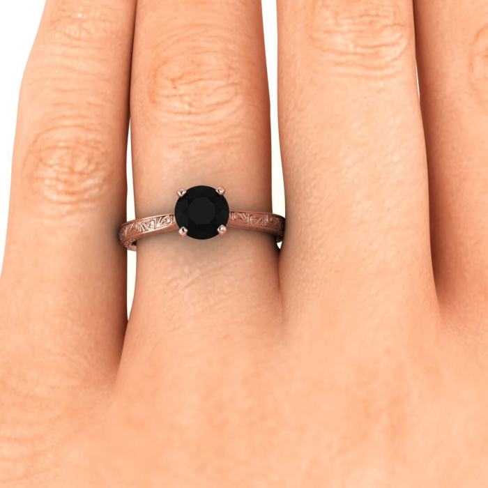 Black Diamond Rose Gold Engagement Ring | Everleigh | Braverman Jewelry