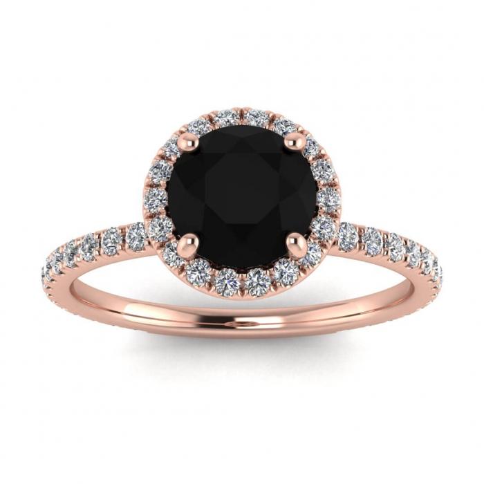 Rose Gold Halo Black Diamond And Diamond Ring Mirabel Braverman Jewelry