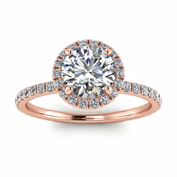 Rose Gold Halo Diamond Ring Mirabel Braverman Jewelry