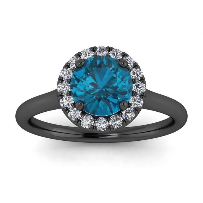 Blue Topaz And Diamond Black Gold Engagement Ring Anne