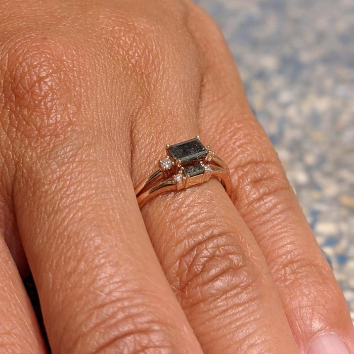 Baguette Engagement Ring  14k Solid Gold Baguette Diamond Ring  6 Stone Art Deco Baguette Diamond Ring