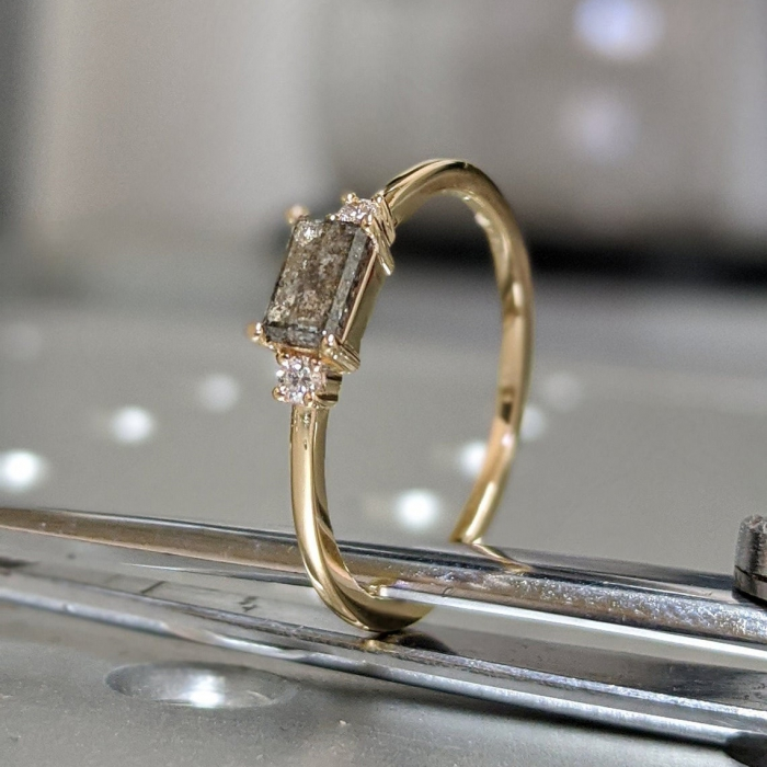 Gold Emerald Baguette Raw Salt And Pepper Diamond Gold Engagement Ring Art Deco 1920 S Inspired Thin