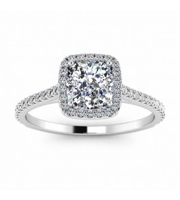 14k White Gold Rey Cushion Diamond Halo Ring (1/4 CT. TW.)