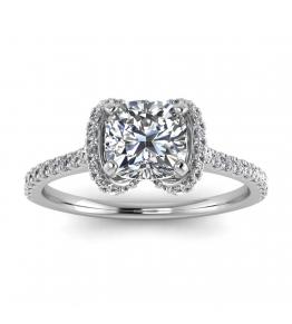 14k White Gold Bowtie Pave Cushion Cut Diamond Ring (1/3 CT. TW.)