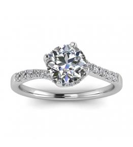 14k White Gold Swirly Petite Pave Diamond Ring (1/7 CT. TW.)