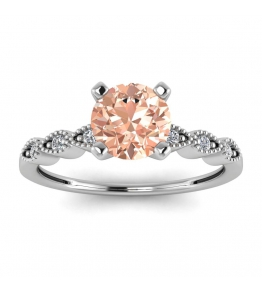 14k White Gold Dot Vintage Morganite and Diamond Engagement Ring