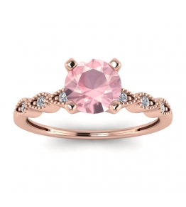18k Rose Gold Dot Vintage Rose Quartz and Diamond Engagement Ring