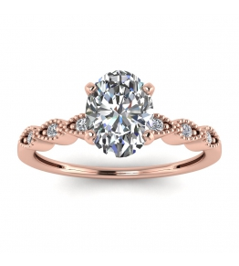 14k Rose Gold Dot Vintage Oval Diamond Engagement Ring