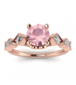 18k Rose Gold Annabelle Geometric Rose Quartz and Diamond Engagement Ring (1/4 CT. TW.)