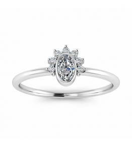14k White Gold Laurel Oval Diamond Engagement Ring