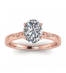 14k Rose Gold Everleigh Hand Engraved Oval Diamond Ring