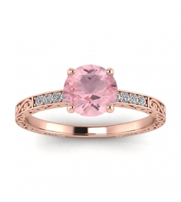 18k Rose Gold Elspeth Micropave Engraved Rose Quartz and Diamond Engagement Ring