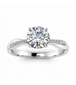 14k White Gold Tal Intertwined Double Band Diamond Ring (1/8 CT. TW.)