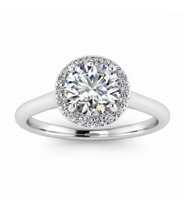 14k White Gold Cornelia Classic Halo Diamond Engagement Ring (1/7 CT. TW.)