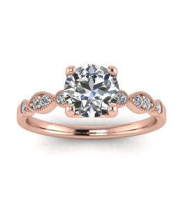 14k Rose Gold Nia Tapered Vintage Diamond Ring (1/4 CT. TW.)