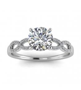 14k White Gold Mona Scalloped Pave Infinity Diamond Ring (1/10 CT. TW.)