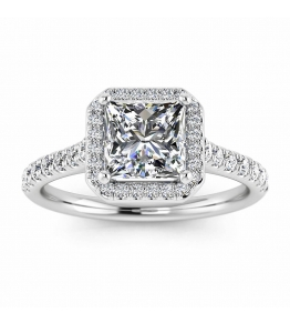 18k White Gold Rumi Squared Halo Princess Cut Diamond Ring (1/3 CT. TW.)