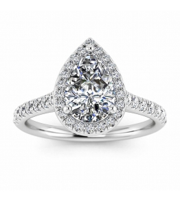 18k White Gold Tear of Joy Pear Halo Pear Diamond Ring (1/3 CT. TW.)