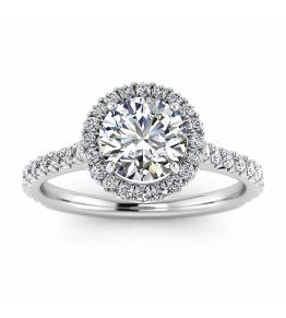 14k White Gold Bee Endless Sparkle Diamond Halo Ring (3/8 CT. TW.)