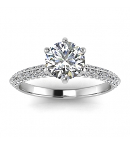 18k White Gold Gracia Diamond Clustered Engagement Ring (1/2 CT. TW.)