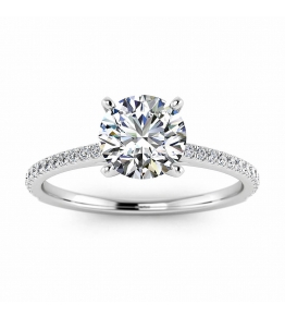 14k White Gold Anahi Micro Pave Diamond Engagement Ring (1/6 CT. TW.)
