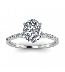 14k White Gold Anahi Micro Pave Oval Diamond Engagement Ring (1/6 CT. TW.)