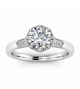 14k White Gold Octagon Milgrain Diamond Ring (1/10 CT. TW.)