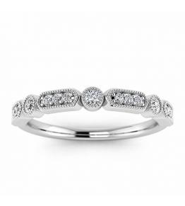 18k White Gold Jada Milgrained Vintage Diamond Wedding Band (1/7 CT. TW.)