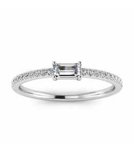 18k White Gold Aphra Baguette Diamond Wedding Band (1/4 CT. TW.)