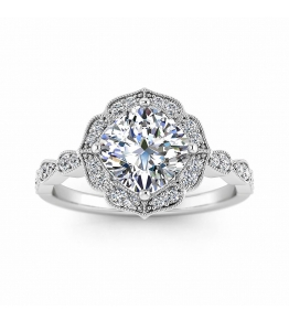14k White Gold Sanne Paved Vintage Inspired Cushion Cut Diamond Ring (1/7 CT. TW.)