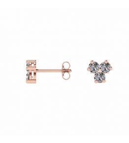 18k Rose Gold Three Diamond Stud Earrings (1/2 CT. TW.)
