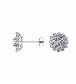 14k White Gold Malou Lotus Flower Diamond Earrings (2/5 CT. TW.)