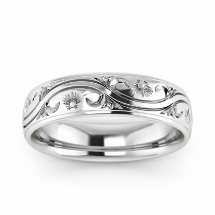 14k White Gold Paisley Vintage Wedding Ring 5mm
