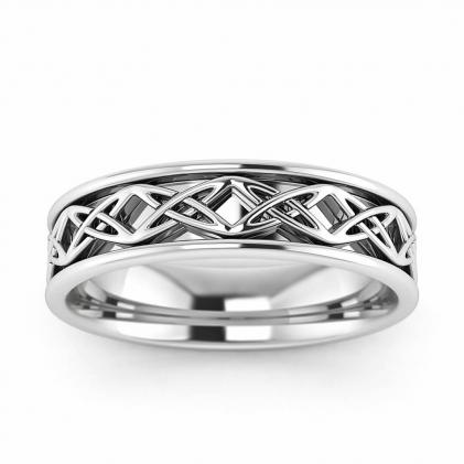 14k White Gold Eternity Knot Celtic Wedding Ring 5mm