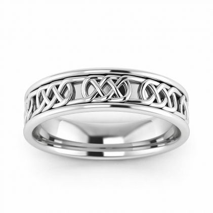 14k White Gold Braided Wedding Band 5mm