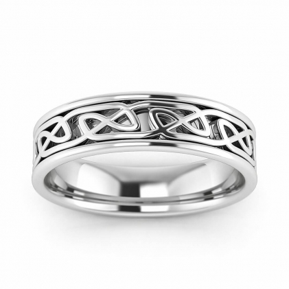 14k White Gold Irish Ring with Endless Knot 5mm