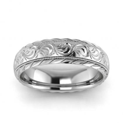 14k White Gold Flower Wedding Ring 5mm