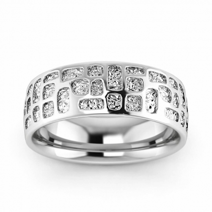 14k White Gold Earth Ring with Hammered Inlay 6.5mm