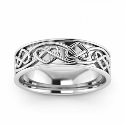 14k White Gold Celtic Infinite Heart Knot Ring 5.5mm