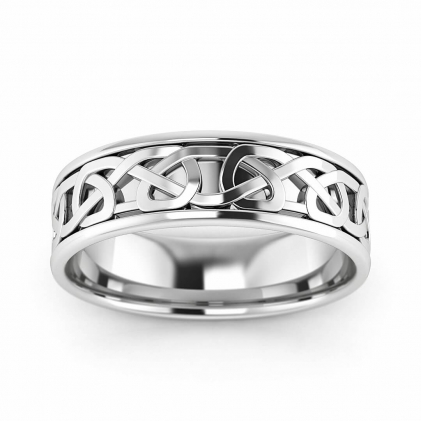 14k White Gold Infinity Ring with Stepped Edges 5.5mm