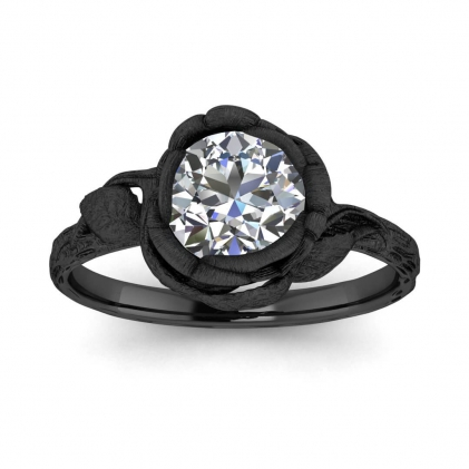 14k Black Gold Abelia Brushed Engagement Ring