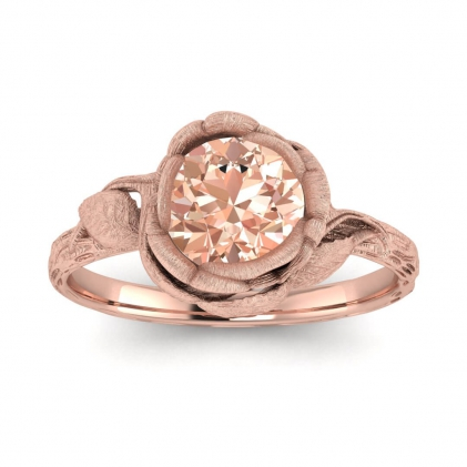 14k Rose Gold Abelia Brushed Morganite Engagement Ring