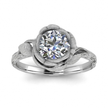 14k White Gold Abelia Brushed Engagement Ring
