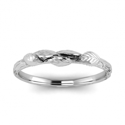 14k White Gold Abelia Contoured Vine Wedding Band