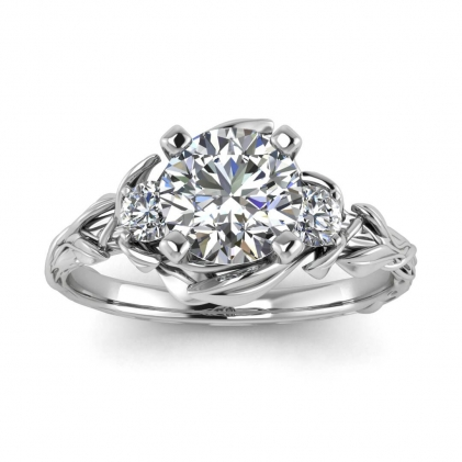 14k White Gold Lily Floral Diamond Ring (1/5 CT. TW.)