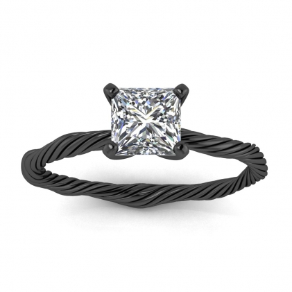 14k Black Gold Azalea Princess Cut Diamond Braided Ring