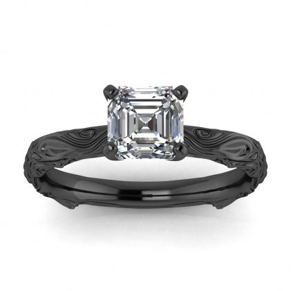 14k Black Gold Ara Asscher Cut Diamond Floral Ring