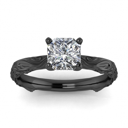 14k Black Gold Ara Radiant Cut Diamond Floral Ring