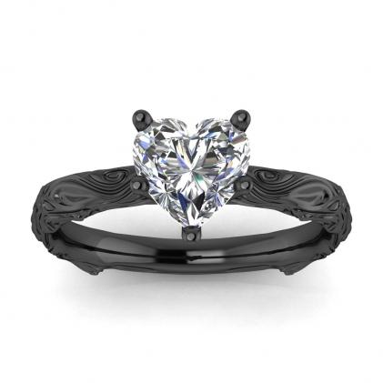 14k Black Gold Ara Heart Shaped Diamond Floral Ring