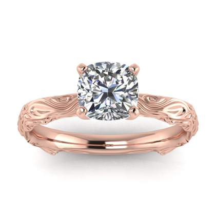 14k Rose Gold Ara Cushion Cut Diamond Floral Ring